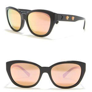 Versace 56mm Cat Eye Orange Black Sunglasses